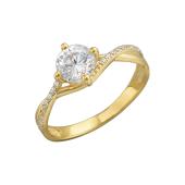 Кольцо с одним фианитом и россыпью фианитов, желтое золото