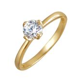 Кольцо на помолвку с одним фианитом, желтое золото