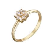 Кольцо Малинки с фианитами, желтое золото