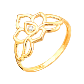 Кольцо Лотос с фианитом, желтое золото
