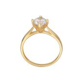 Кольцо с одним фианитом Сваровски, желтое золото 585 пробы