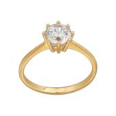 Кольцо Солитер с фианитом Сваровски в креплении корона, желтое золото