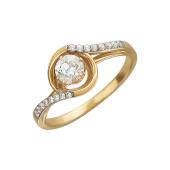 Кольцо с фианитом Сваровски и россыпью фианитов, желтое золото
