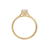 Кольцо Солитер с фианитом Сваровски и фианитом в торце, желтое золото
