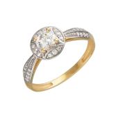 Кольцо с фианитами Сваровски, красное золото