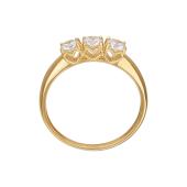 Кольцо с тремя фианитами Сваровски в сердечках, желтое золото 585 пробы