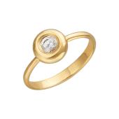 Кольцо с одним фианитом, желтое золото