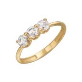 Кольцо с тремя фианитами Сваровски, желтое золото 585 пробы