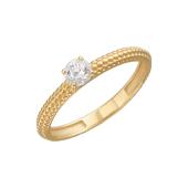 Кольцо с фианитом и ребристой поверхностью, желтое золото 585 проба