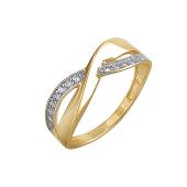 Кольцо Бесконечность с фианитами из желтого золота