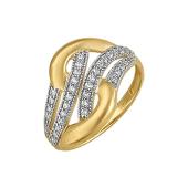 Кольцо с фианитами из желтого золота 585 пробы