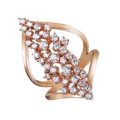 Кольцо Лесная Сказка с фианитами, серебро с позолотой