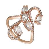 Кольцо Змейка с фианитами, серебро с позолотой