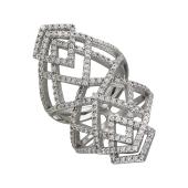 Кольцо геометричное с россыпью фианитов, серебро
