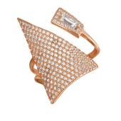 Кольцо Большой Треугольник с россыпью фианитов, серебро с позолотой