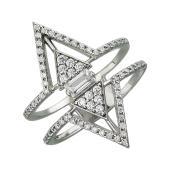 Кольцо Треугольники с фианитами, серебро