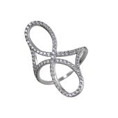 Кольцо Бесконечность с россыпью фианитов, серебро