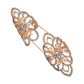 Кольцо на две фаланги с россыпью фианитов, серебро с позолотой