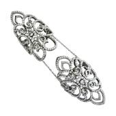 Кольцо на две фаланги с россыпью фианитов, серебро