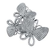Кольцо Dream с бабочками и фианитами из серебра 925 пробы