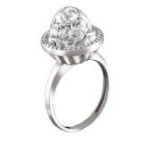 Кольцо со стеклянной колбой с плавающими фианитами из серебра 925 пробы