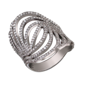 Кольцо Линии с россыпью фианитов, серебро с чернением