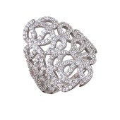 Кольцо Лабиринт с фианитами, серебро