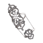 Кольцо Мадина с фианитами на две фаланги, серебро с чернением