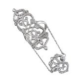 Кольцо Мадина с фианитами на две фаланги, серебро