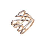 Кольцо широкое Геометрия с острыми углами и фианитами, серебро с позолотой и чернением