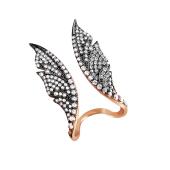 Кольцо Крылья Бабочки с фианитами, серебро с позолотой и чернением