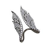 Кольцо Крылья Бабочки открытое с фианитами, черненое серебро