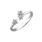 Кольцо Цветочки с фианитами, на ногу или на фалангу, серебро