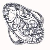 Кольцо овальное широкое с фианитами из серебра 925 пробы с чернением