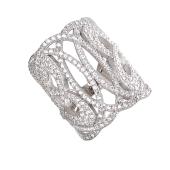 Кольцо ажурное с россыпью фианитов, серебро