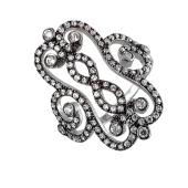 Кольцо Ажурное с фианитами, серебро