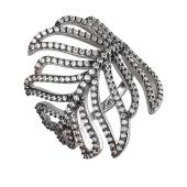 Кольцо широкое Листок с фианитами из серебра 925 пробы с чернением