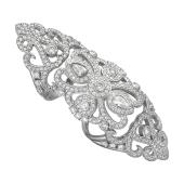 Кольцо ажурное королевское с лилиями и фианитами, серебро