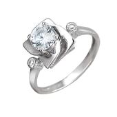 Кольцо Роза с фианитами, серебро