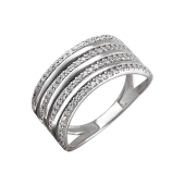 Кольцо Дорожки с фианитами, серебро