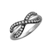 Кольцо Бесконечность с фианитами из серебра с чернением