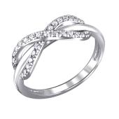 Кольцо Бесконечность с фианитами из серебра