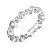 Кольцо Дорожка с круглыми фианитами из серебра