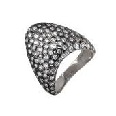 Кольцо треугольное с россыпью фианитов из серебра 925 пробы с чернением