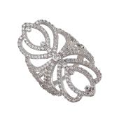 Кольцо широкое ажурное с фианитами из серебра 925 пробы