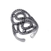 Кольцо Восемь с россыпью фианитов открытое из серебра