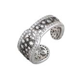 Кольцо открытое Ремень с россыпью фианитов из серебра