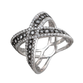 Кольцо перекрещенное с россыпью фианитов из серебра с чернением
