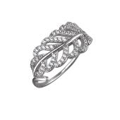 Кольцо Листок Пальмы с фианитами из серебра 925 пробы