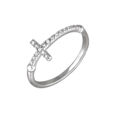 Кольцо Крестик с фианитами из серебра